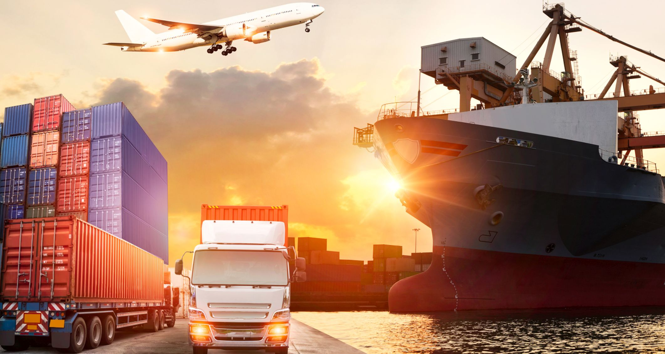 Logistics and transportation of Container Cargo ship and Cargo plane